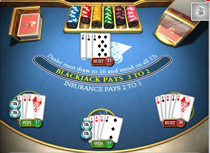 Beispiel für 5-Card-Charlie beim Blackjack