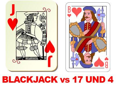 unterschiedliche Karten bei Blackjack und 17 und 4