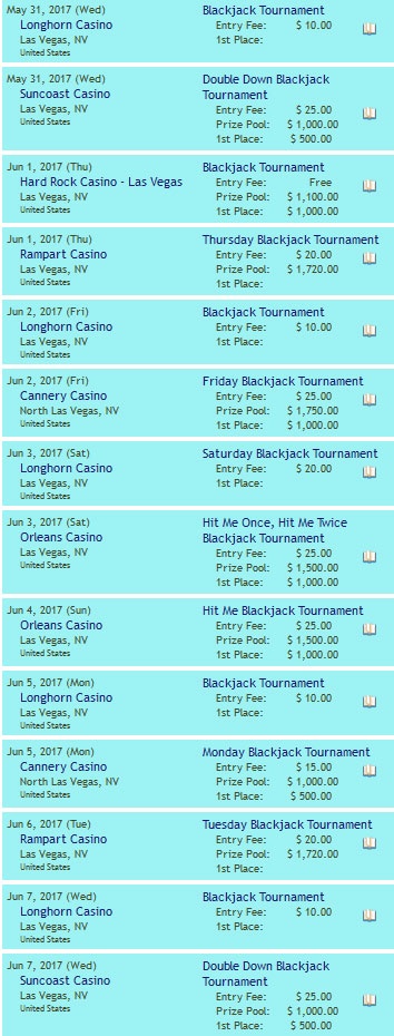 Blackjack Turniere in Las Vegas Juni 2017