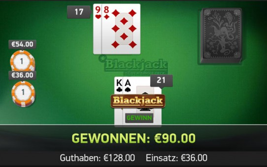 Blackjack Gewinn im Online Casino Mr Grenn - 90 Euro