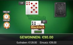 Blackjack im Online Casino Mr Green mit 100 Euro Gewinn