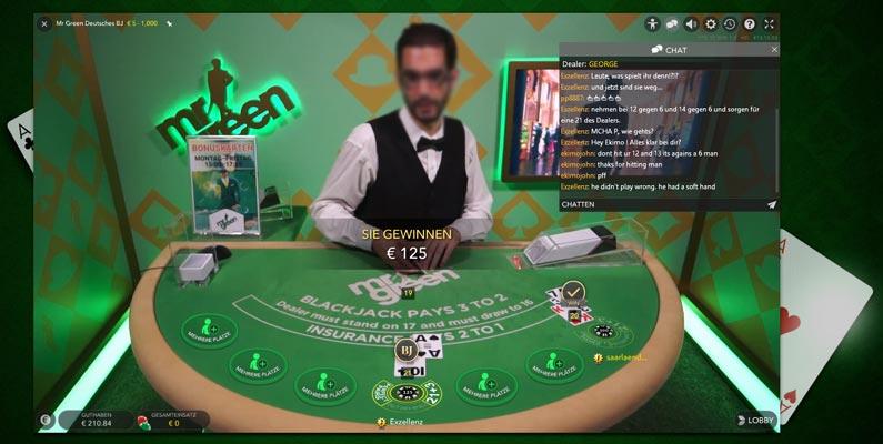 Live Blackjack im Online Casino mit echtem Dealer