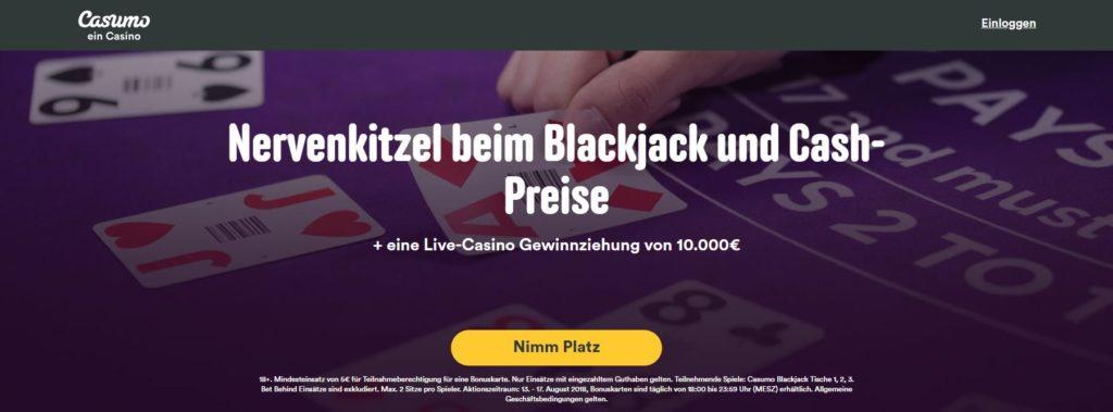 Casumo Live Blackjack Bonus