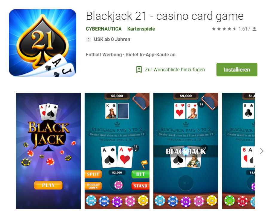 Blackjack 21 – Casino card game von Cybernautica [Android App Google Play]