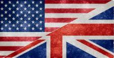 Flaggen von USA und UK gemischt