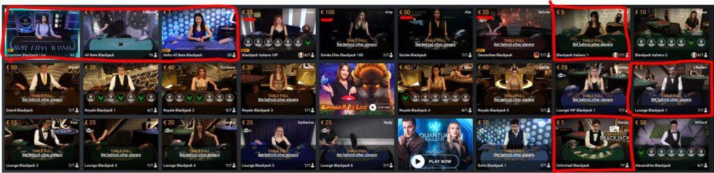 Blackjack Online im William Hill Live-Casino