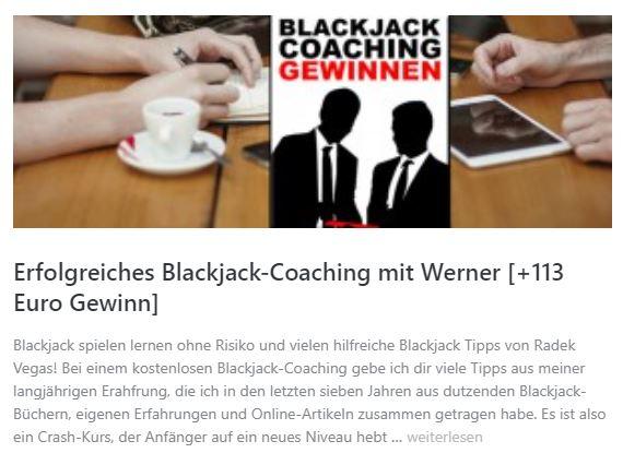 Blackjack Coaching erfolgreich - Gewinn im Online-Casino
