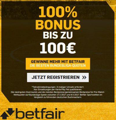Betfair Online Sportwetten Bonus
